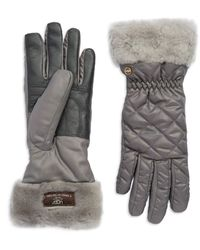 Ugg Quilted Fur Trim Gloves - Lyst