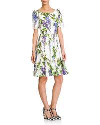 Dolce & Gabbana Wisteria-Print Poplin Dress multicolor - Lyst