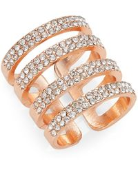 Cara - Stacked Band Ring/rose Goldtone - Lyst