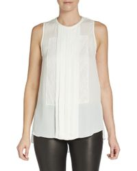Haute Hippie Pintuck Pleated Silk-crepe Blouse - Lyst