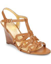 Ivanka Trump Briana Leather Wedge Sandals - Lyst