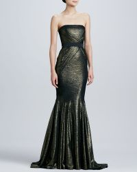 Badgley Mischka Strapless Brocade Mermaid Gown - Lyst