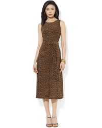 Lauren by Ralph Lauren Sleeveless Animal Print Midi Dress - Lyst