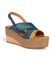 Lanvin Satin Wedge Espadrille Sandals green - Lyst