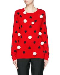 Chinti & Parker | Pompom Heart Intarsia Cashmere Sweater | Lyst
