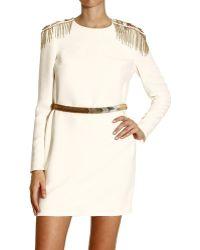 Versace Dress Long Sleeves with Mostrine and Jewel Belt - Lyst
