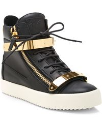 Giuseppe Zanotti Birel Metal And Leather High-Top Sneakers - Lyst
