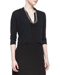 Eileen Fisher 34-sleeve Cropped Cardigan - Lyst