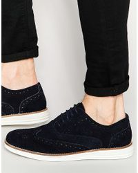 Dune - Brogues In Navy Suede With Contrast Sole - Lyst