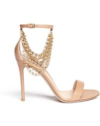 Gianvito Rossi Chain Ankle Strap Leather Sandals beige - Lyst