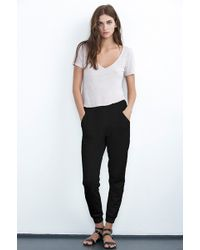 Velvet By Graham & Spencer Jacklyn Black French Terry Contrast Sweatpant - Lyst