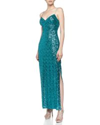 Aidan Mattox Thinstrap Empire Sequin Gown - Lyst