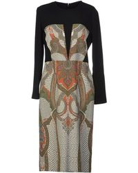 Etro Paisley Print Crêpe Multicolor Knee Length Dress - Lyst