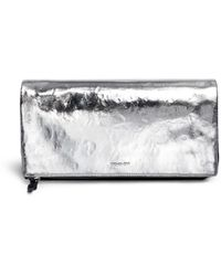 McQ by Alexander McQueen Metallic Leather Front Razor Foldover Clutch - Lyst