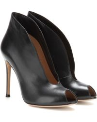 Gianvito Rossi Vamp Leather Peeptoe Ankle Boots - Lyst