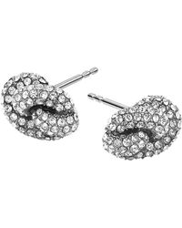 Michael Kors Silver-Tone Encrusted Knotted Stud Earrings - Lyst
