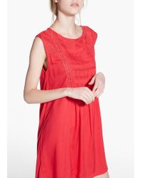 Mango Embroidered Panel Dress - Lyst