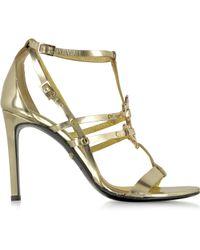 Roberto Cavalli Mirror Gold Leather High Heel Sandal - Lyst