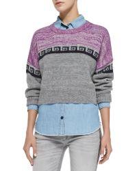 Etoile Isabel Marant Reply Greek Key Colorblock Crop Sweater - Lyst