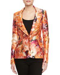 J. Mendel Mikado Tiger Lilyprint Tailored Blazer orange - Lyst
