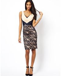 Hybrid Pencil Dress with Plunge Neck and Lace Skirt - Lyst