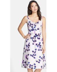 Cynthia Steffe 'Katrina' Floral Print Duchess Satin Midi Dress floral - Lyst