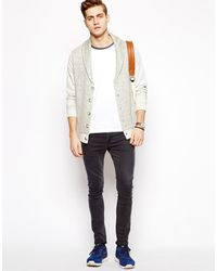 Asos Sweat Cardigan with Knitted Panel - Lyst