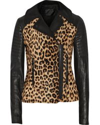 A.L.C. Lee Leopardprint Calf Hair and Leather Biker Jacket - Lyst