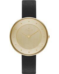 Skagen Women'S Gitte Black Leather Strap Watch 38Mm Skw2262 - Lyst