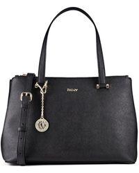 DKNY Saffiano Leather Double Zip Shopper - Lyst