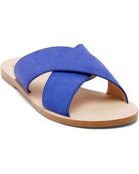 DV by Dolce Vita Open Toe Flat Slide Sandals - Orra Crossband - Lyst