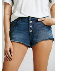 Free People Buttonfront Cut Offs - Lyst