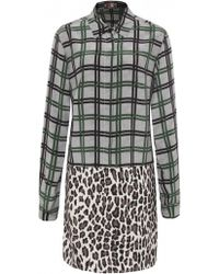 MSGM Check Leopard Print Silk Dress - Lyst