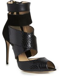Paul Andrew Shirin Whipsnake and Suede Sandal - Lyst