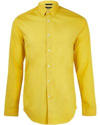 Paul Smith Yellow High Density Poplin Cotton Shirt - Lyst