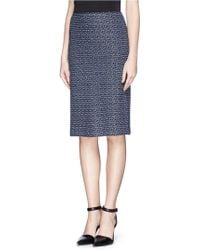 St. John Dash Stripe Knit Pencil Skirt - Lyst