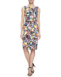 Erdem Mariko Floral-print Cowl-neck Draped Dress - Lyst