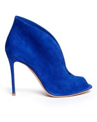 Gianvito Rossi V-Throat Suede Peep Toe Booties - Lyst