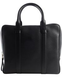 Tom Ford Black Leather Top Handle Large Zip Briefcase - Lyst