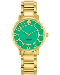 Kate Spade Gramercy Goldtone Stainless Steel Enamel Bracelet Watch - Lyst