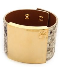 Tory Burch Wide Metal Plaque Leather Bracelet - Naturalshiny Brass - Lyst