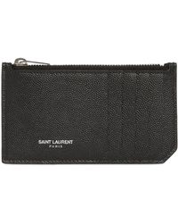 Saint Laurent Grained Leather Zip Card Holder black - Lyst