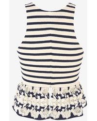Thakoon Floral Crochet Hem Striped Tank black - Lyst