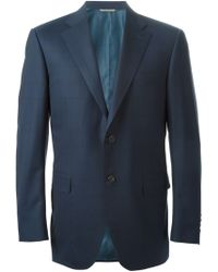 Canali Fine Check Suit - Lyst