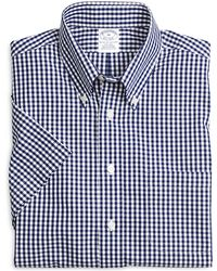 Brooks Brothers Non-iron Slim Fit Gingham Short-sleeve Sport Shirt - Lyst