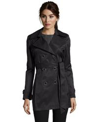 Via Spiga Black Water Repellent Cotton Blend Laser Cut Detail Trench Coat - Lyst