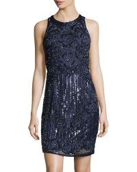 Theia Flower Blossom Beaded Cocktail Dress - Lyst