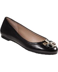 Tory Burch Lowell Ballet Flat Black Leather - Lyst