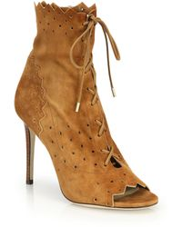 Jimmy Choo | Dei Cashmere Suede Laser-cut Lace-up Booties | Lyst