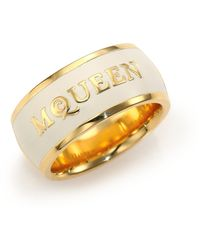 Alexander McQueen Signature Enamel Band Ring/Goldtone gold - Lyst